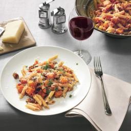 Multi-Grain Pasta with Butternut Squash, Ground Lamb, and Kasseri