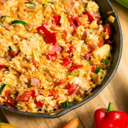 Multicoloured Scrambled Eggs Skillet with Vegetables