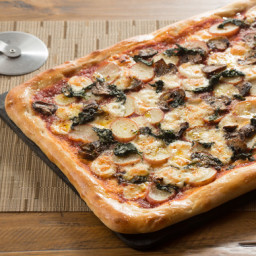 Mushroom and Potato Pizzawith Fontina Cheese, Spinach and Garlic Oil