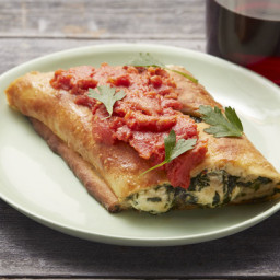 Mushroom and Spinach Stromboliwith Fresh Mozzarella and Tomato Sauce