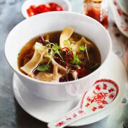 Mushroom Dumplings with Ginger and Shiitake Broth