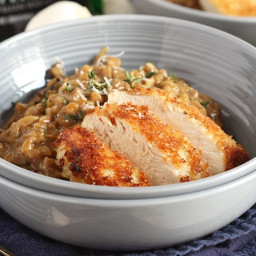 Mushroom Farro Risotto with Parmesan Crusted Chicken