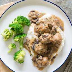 Mushroom Gravy-Smothered Chicken Meatballs