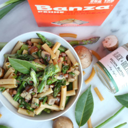 Mushroom Penne with Asparagus, Pancetta, and Bay Leaf Brown Butter