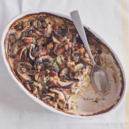 Mushroom, Potato and Pancetta Gratin