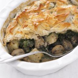 Mushroom, spinach and potato pie