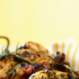 Mustard-Roasted Chicken with Warm Frisée Salad and Fingerlings and Bacon