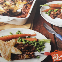 My Food Bag: Beef and cheese pastry topped pie with steamed vegetables