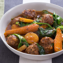 Navarin-Style Lamb Meatball Stewwith Pea Tips and Carrots