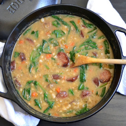 navy bean soup with sausage and spinach