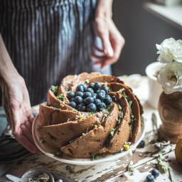 nectarine and blueberry polenta cake with salted honey glaze