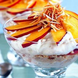 Nectarine and coconut macaroon trifles