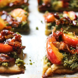 Nectarine and Prosciutto Pizza with Maple-Balsamic Reduction (Paleo, Grain