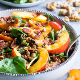 Nectarine Spinach Salad with Bacon and Toasted Walnuts {Paleo, Whole30}