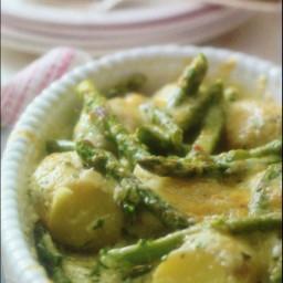 New Potatoes, asparagus and creamy Lancashire melt