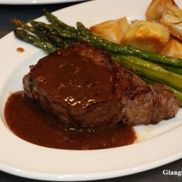 New York Steaks with Wine Sauce