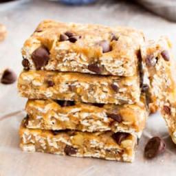 No Bake Almond Butter Chocolate Chip Cookie Dough Granola Bars (Vegan, Glut