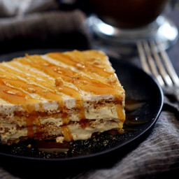 No Bake Caramel Macchiato Cake