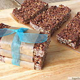 No Bake Chewy Cocoa Granola Bars {Refined Sugar, Gluten and Nut Free}