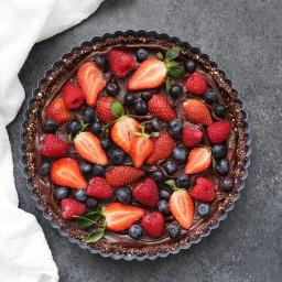 No Bake Chocolate Tart with Berries