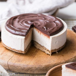 No-Bake Vanilla Bean Cheesecake with Chocolate Ganache (Gluten Free, Paleo