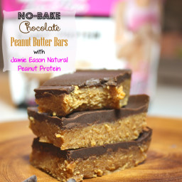 No-Bake Chocolate Peanut Butter Bars with Jamie Eason Natural Peanut Protei