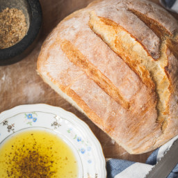 No Time-No Knead Bread with Dukkah Spice Dip