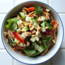 Noodle Salad with Raw Veggies and Peanut Sauce