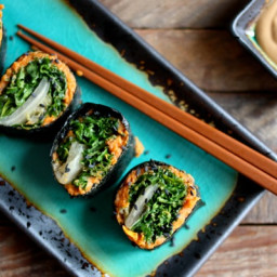 Nori Rolls with Miso Sweet Potato Mash, Kimchee, and Massaged Kale