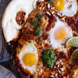 Northern Indian Style Baked Eggs with Green Harissa + Naan.