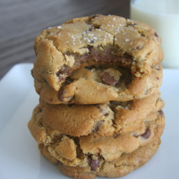 Nutella-Stuffed Browned Butter Chocolate Chip Cookies with Sea Salt