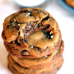 Nutella Stuffed Brown Butter + Sea Salt Chocolate Chip Cookies {The Best Co