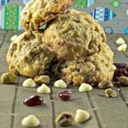 Oatmeal Cranberry Cookies with White Chocolate and Pistachios