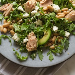 Oil Packed-Tuna, Avocado, White Bean, and Arugula Salad