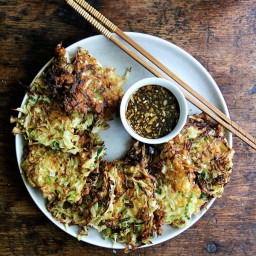 Okonomiyaki: Cabbage Pancakes with Soy Dipping Sauce