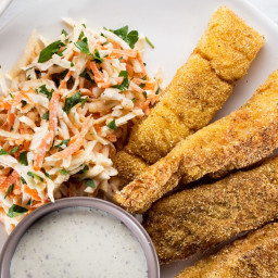 Old Bay–Spiced Fish Sticks with Creamy Celery Root and Carrot Slaw recipe |