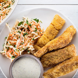 Old Bay-Spiced Fish Sticks With Creamy Celery Root and Carrot Slaw