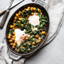 Olive Oil Baked Chickpeas with Eggs, Spinach and Sumac