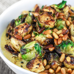Olive Oil Fried Brussel Sprouts Recipe with Onions and Quick Polenta