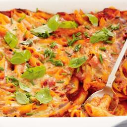 One-dish salami pasta bake