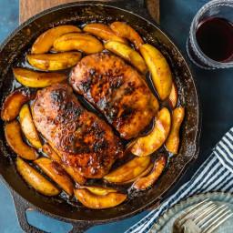 One Pan Apple Butter Pork Chop Skillet