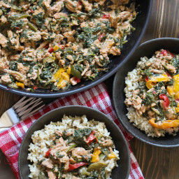 One-Pan Coconut Ground Turkey and Peppers