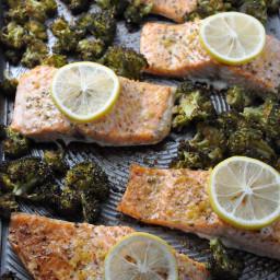 One-Pan Garlic Roasted Salmon and Broccoli