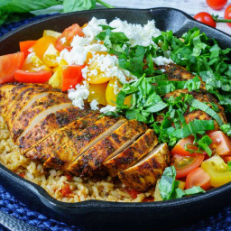 One Pan Greek Chicken + Rice