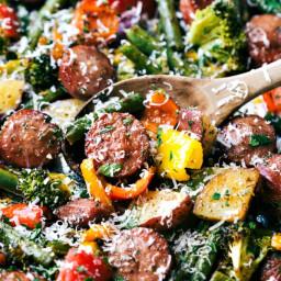 One Pan Healthy Sausage and Veggies