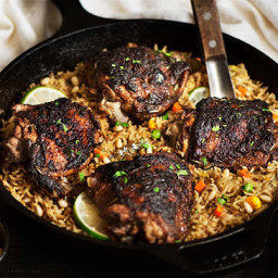 One Pan Jerk Chicken and Mediterranean Rice