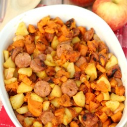 One-Pan Paleo Chicken Apple Sausage and Sweet Potato Skillet