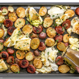 One Pan Roasted Kielbasa and Cabbage Dinner