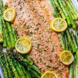 One Pan Salmon and Asparagus with Garlic Herb Butter