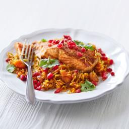 One-pan tikka salmon with jewelled rice